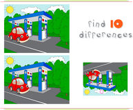 Gas or petrol station on the road with car. Educational game. For kids: find ten differences. Vector illustration Royalty Free Stock Images