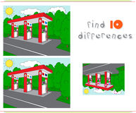 Gas or petrol station on the road. Educational game for kids. Find ten differences. Vector illustration Royalty Free Stock Images