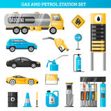 Gas And Petrol Station Set. Gas and petrol station decorative icons set with gasoline tanker fuel pump racks for car refuelling flat vector illustration Royalty Free Stock Photos