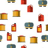 Gas, Petrol Tank Linear Vector Seamless Pattern vector illustration