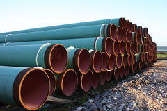 Gas pipe. Stock pile of gas pipes ready for use royalty free stock photography