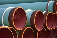 Gas pipe. Closeup of Stock pile of gas pipes ready for use stock image
