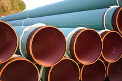 Gas pipe. Stock pile of gas pipes ready for use royalty free stock photo