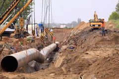 Gas pipe construction site Royalty Free Stock Photo
