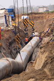 Gas pipe construction site Royalty Free Stock Photography