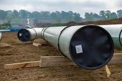 Gas pipe line. This is a gas pipe line that is being relocated owing to the construction of the new high-speed railway called HS2 in Buckinghamshire UK Stock Photo