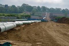 Gas pipe line. This is a gas pipe line that is being relocated owing to the construction of the new high-speed railway called HS2 in Buckinghamshire UK Royalty Free Stock Photos