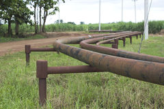 Gas pipe line. That laid through green field Stock Photo