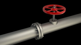 Gas pipe with a red valve Stock Photo