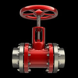 Gas pipe with a red valve on black. Background High resolution 3D Stock Image