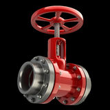 Gas pipe with a red valve on black. Background High resolution 3D Stock Photography