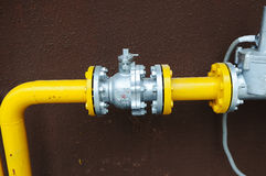 Gas pipe and valve Stock Photo