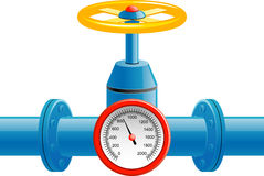 Gas Pipe Valve And Pressure Meter Stock Photos