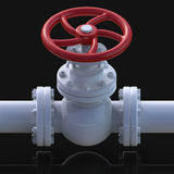Gas pipe valve 3D illustration. Gas pipe with valve 3d illustration on black background Stock Image