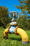 Gas pipe with a valve on a green lawn Royalty Free Stock Photo