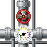 Gas pipe valve, pressure meter Stock Photos