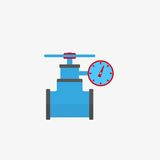Gas pipe valve and pressure meter vector icon. Color illustration gas pipe valve and pressure meter vector icon Royalty Free Stock Photo