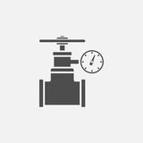 Gas pipe valve and pressure meter vector icon Royalty Free Stock Image