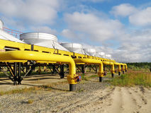 Gas pipeline. The gate on the gas pipeline Stock Photos