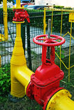 Gas pipeline. Red yellow gas pipeline of city gas services Royalty Free Stock Images