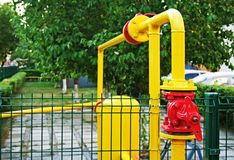 Gas pipeline. Red - yellow gas pipeline of city gas services Stock Photos