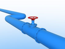 Gas pipeline. Blue gas pipeline with red gate vector illustration
