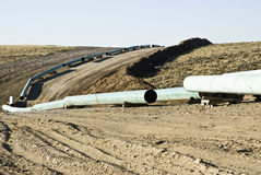 Gas Pipeline Construction. Pipeline construction through a gas field in Wyoming Royalty Free Stock Photography