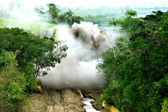 Gas Pipeline Construction Blasting Operation stock images