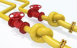 Gas pipeline. 3D rendered knot from pipeline. Concept of energy crisis Royalty Free Stock Photos