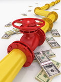 Gas pipeline. 3D rendered gas pipeline with money Royalty Free Stock Photos