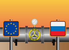 Gas pipeline euro. Vector illustration. The gas pipeline with flags of Russia and EU vector illustration