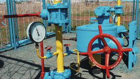 Gas pipeline with a manometer. Pumping station for pumping natural gas. Purification, storage and transportation of stock video footage
