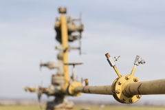 Gas pipeline middle of the field. Extraction of gas from storage. Stock Photos