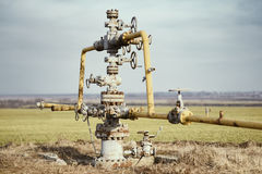 Gas pipeline middle of the field. Extraction of gas from storage. Stock Images