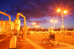 Gas pipeline at night Royalty Free Stock Image