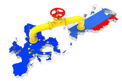 Gas pipeline over Russian and European Union maps Royalty Free Stock Photo