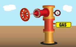 Gas pipeline. Gas processing plant with pipeline valve and a small yellow sign with the word gas stock illustration