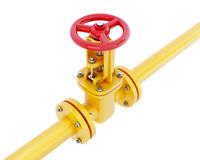 Gas pipeline with red valve Stock Image