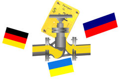 Gas pipeline Russia, Ukraine Germany. Image with national flags of Germany, Ukraine, Russia gas pipeline and gas shut-off valve plate Stock Photos