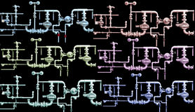 Gas pipeline systems in color. Several schematics of a gas pipeline system in a variety of colors. Black background royalty free illustration