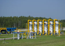 Gas pipeline. Transportation of gas to other countries stock photo
