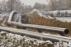Gas pipeline under construction Royalty Free Stock Photography