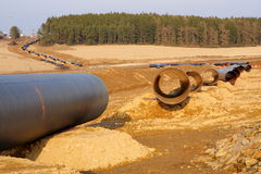Gas pipeline under construction Royalty Free Stock Images