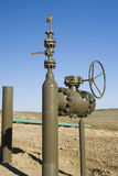 Gas pipeline valve. Pipeline construction for new oil and gas drilling activity in Wyoming Stock Images