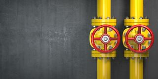 Free Gas Pipeline Valve On A Wall. Space For Text. Gas Pressure Control. Stock Photography - 129381262