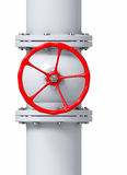 Gas Pipeline Valve. Red valve on a gas, water or oil pipeline Stock Images