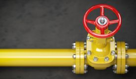 Gas pipeline valve on a wall. Space for text. Gas pressure contr stock image