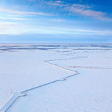Gas pipeline in winter, top view Royalty Free Stock Photos