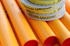 Gas pipelines. Gas lines with warning note Royalty Free Stock Image