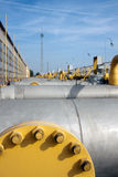 Gas pipes. Gas industry, big iron pipes royalty free stock photos